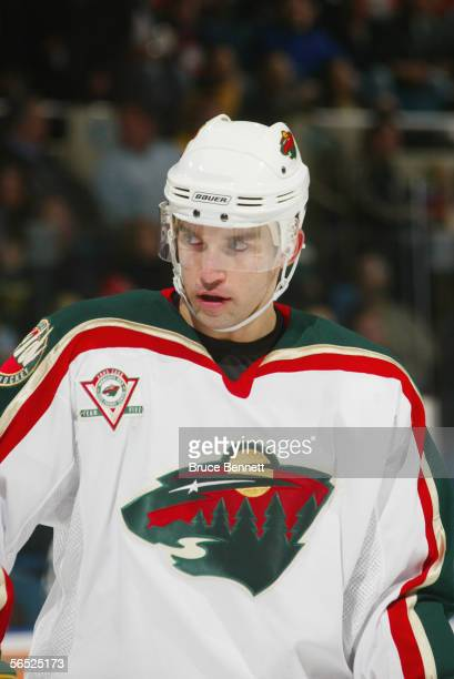 Right wing Alexandre Daigle of the Minnesota Wild looks on against the New York Islanders at the Nassau Coliseum on December 13, 2005 in Uniondale,...