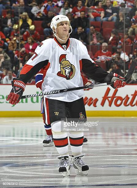 Right wing Alexei Kovalev of the Ottawa Senators looks at the scoreboard during a break in the NHL game against the Montreal Canadiens on October 17...
