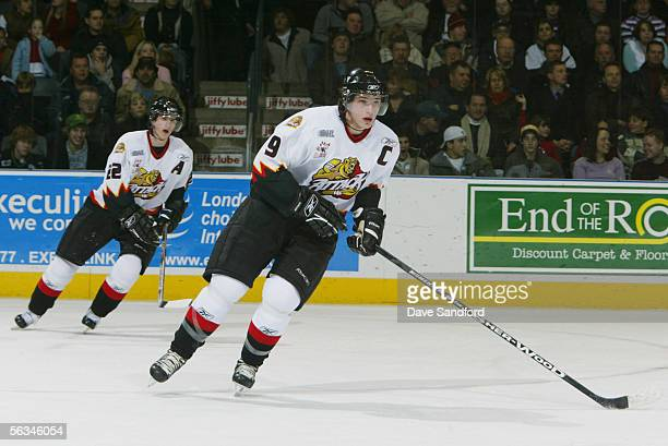 Right wing Bobby Ryan of the Owen Sound Attack skates against the London Knights during their OHL game at the John Labatt Centre November 18, 2005 in...