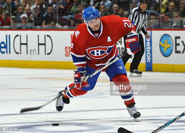 Right wing Brian Gionta of the Montreal Canadiens takes a shot during the NHL game against the Atlanta Thrashers on October 20 2009 at the Bell...