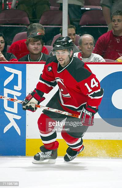 Right wing Brian Gionta of the New Jersey Devils skates on the ice against the Carolina Hurricanes in game four of the Eastern Conference Semifinals...