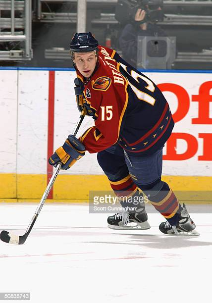 Right wing Dany Heatley of the Atlanta Thrashers advances the puck against the Washington Capitals during the game at the Philips Arena on March 24...