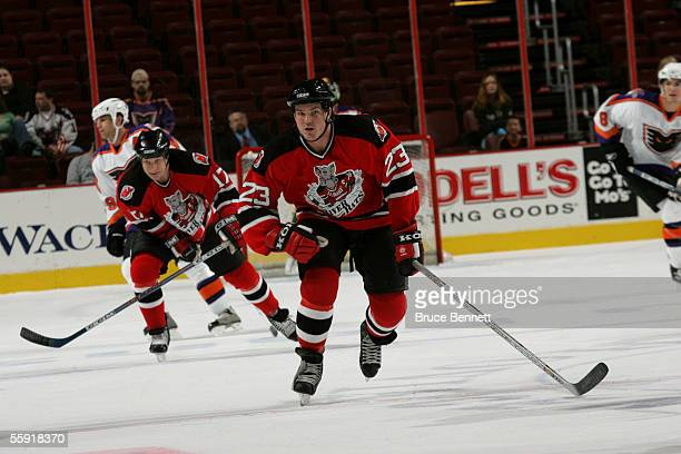 Right wing David Clarkson of the Albany River Rats skates on the ice during the game against the Philadelphia Phantoms on October 9 2005 at the...