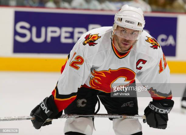 Right wing Jarome Iginla of the Calgary Flames is on the ice for the first round NHL playoff game against the Vancouver Canucks at the General Motors...