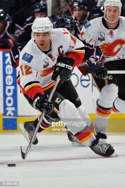 Right wing Jarome Iginla of the Calgary Flames skates against the Columbus Blue Jackets on October 13 2009 at Nationwide Arena in Columbus Ohio The...