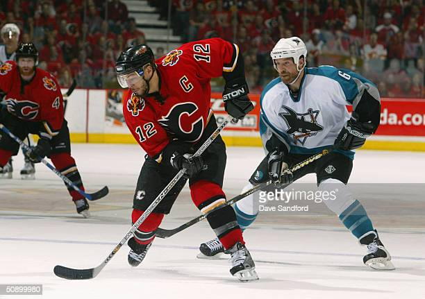 Right wing Jarome Iginla of the Calgary Flames skates on the ice during Game six of the 2004 NHL Western Conference Finals against the San Jose...