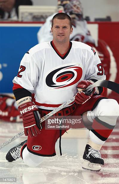Right wing Jeff O'Neill of the Carolina Hurricanes warms up before the preseason NHL game against the Philadelphia Flyers at the RBC Center on...