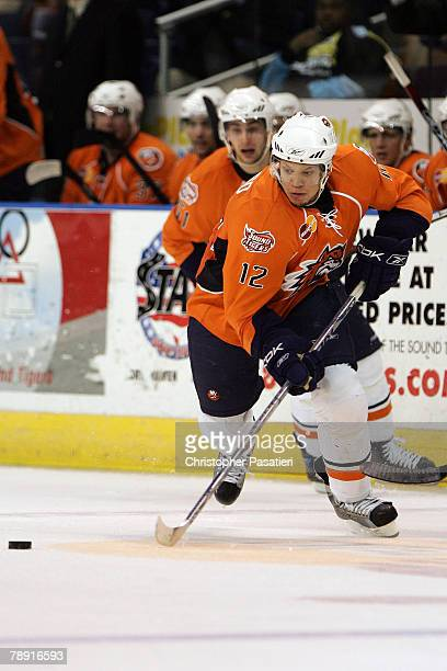 Right wing Kyle Okposo of the Bridgeport Sound Tigers controls the puck during the third period against the Springfield Falcons at Harbor Yard...