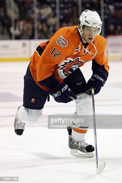 Right wing Kyle Okposo of the Bridgeport Sound Tigers during the third period against the Springfield Falcons on January 12 2008 at the Arena at...