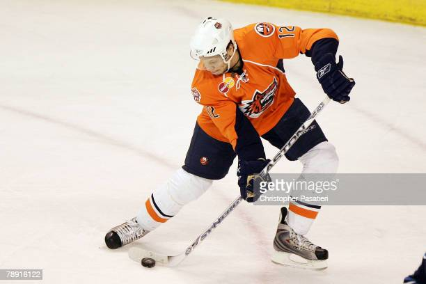 Right wing Kyle Okposo of the Bridgeport Sound Tigers plays during the first period against the Springfield Falcons at Harbor Yard January 12 2008 in...