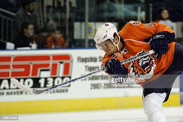 Right wing Kyle Okposo of the Bridgeport Sound Tigers prior to the game against the Springfield Falcons at Harbor Yard January 12 2008 in Bridgeport...