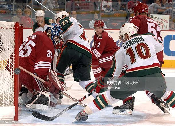 Right wing Marian Gaborik of the Minnesota Wild directs the puck just wide of the net on October 13 2007 at Jobingcom Arena in Glendale Arizona