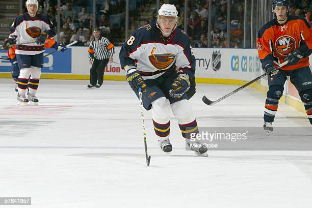 Right wing Marian Hossa of the Atlanta Thrashers skates on the ice during the game against the New York Islanders on March 25 2006 at Nassau Coliseum...