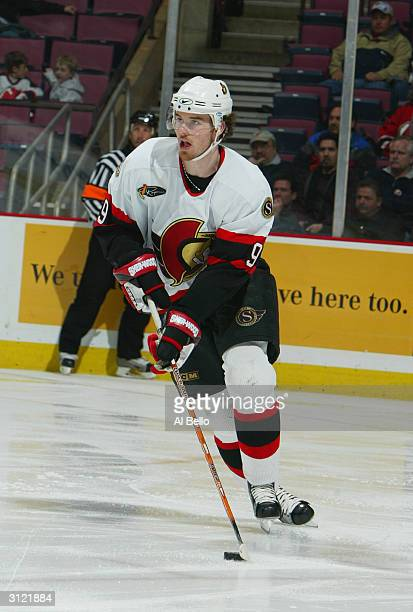 Right wing Martin Havlat of the Ottawa Senators skates on the ice during the game against the New Jersey Devils at the Continental Airlines Arena on...