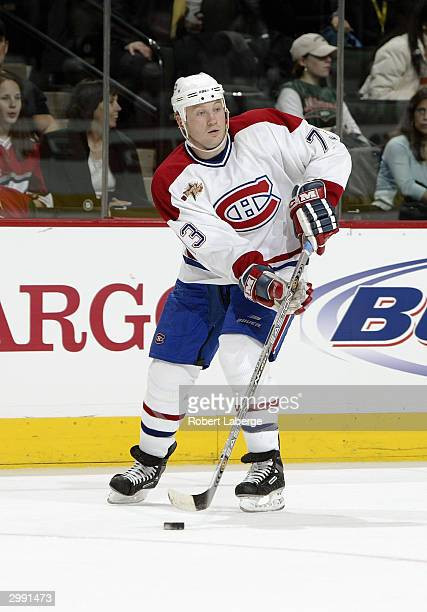 Right Wing Michael Ryder of the Montreal Canadiens of the East YoungStars looks to make a pass play from the wing during the NHL YoungStars Game...