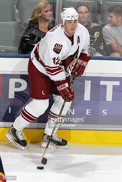 Right Wing Mike Johnson of the Phoenix Coyotes surveys the ice against the Florida Panthers on October 15, 2003 at the Office Depot Center in...