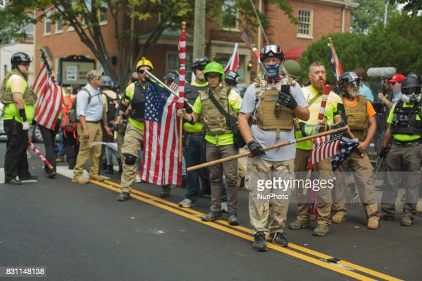 A right wing militia group attempted to do security for the rally on 12 August 2017 in Charlottesville Virginia USA The Unite the Right instigated...