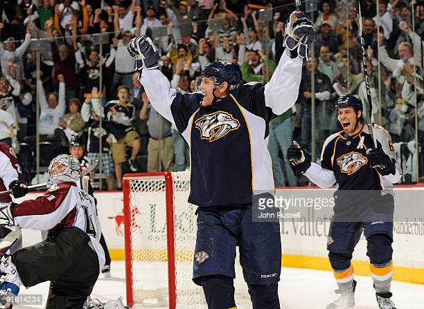 Right wing Patric Hornqvist and defenseman Shea Weber of the Nashville Predators celebrate a go-ahead third period goal against the Colorado...