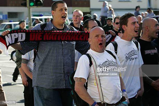 Right wing protestors from the political party 'NPD'and German Neonazis are protesting on May 1 2007 in Dortmund Germany