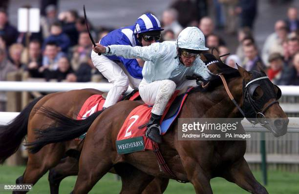 Right Wing ridden by jockey Pat Eddery wins the Weatherbys Earl of Sefton Stakes from Albarahin and jockey Richard Hills at Newmarket races
