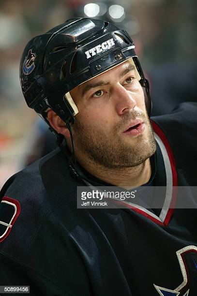 Right wing Todd Bertuzzi of the Vancouver Canucks looks on during the game against the Atlanta Thrashers at General Motors Place on February 13, 2004...
