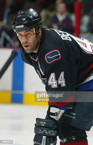 Right wing Todd Bertuzzi of the Vancouver Canucks stands on the ice during the game against the Chicago Blackhawks at General Motors Place on January...