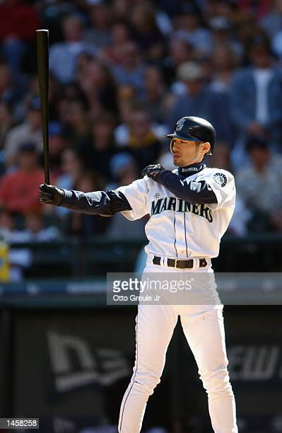 Rightfielder Ichiro Suzuki of the Seattle Mariners readies at the plate against the Anaheim Angels during the game on September 22 2002 at Safeco...