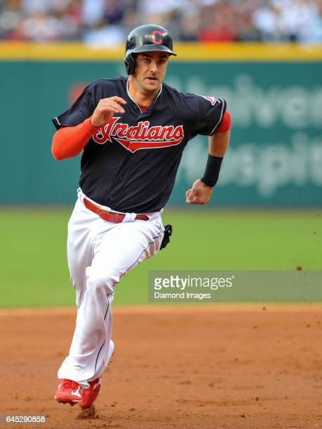 Rightfielder Lonnie Chisenhall of the Cleveland Indians runs toward third base during a game against the Cincinnati Reds on May 17 2016 at...