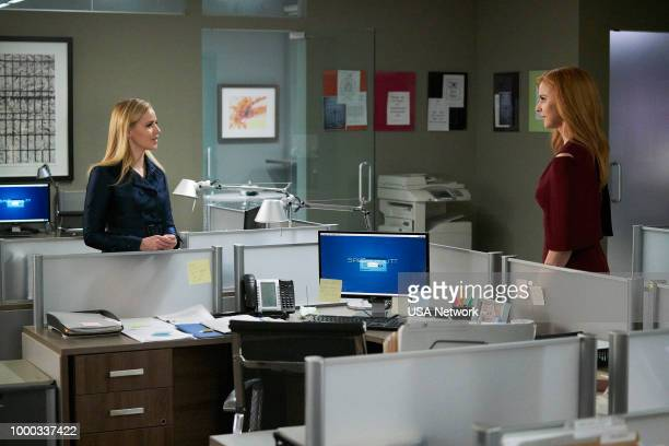 SUITS 'RightHand Man' Episode 801 Pictured Amanda Schull as Katrina Bennett Sarah Rafferty as Donna Paulsen