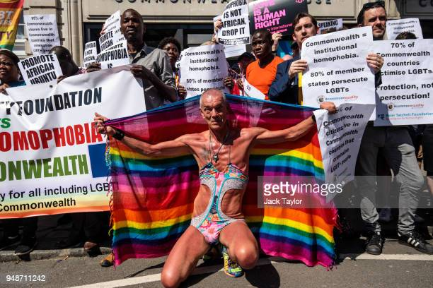 LGBT rights activists protest outside Commonwealth House during the 'Commonwealth Heads of Government Meeting' on April 19 2018 in London England The...