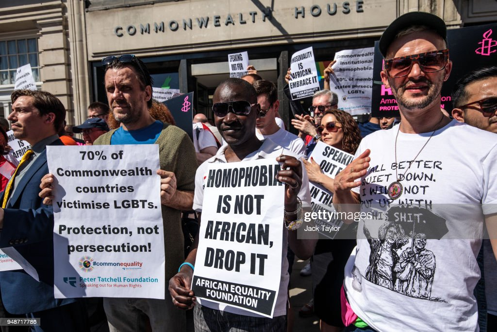 LGBT rights activists protest outside Commonwealth House during the 'Commonwealth Heads of Government Meeting' (CHOGM) on April 19, 2018 in London, England. The UK is hosting heads of state and government from the Commonwealth nations this week.