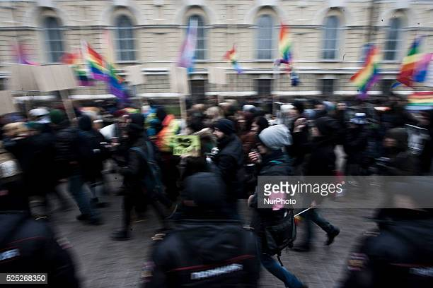 LGBT rights activists take part in the 'March Against Hatred' in St Petersburg Russia 02 November 2014