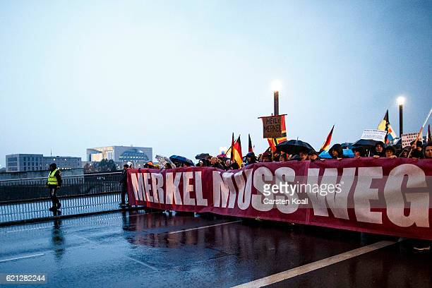 Rightwing activists marching near the Chancellory through the city center on November 5 2016 in Berlin Germany According to the police 600...