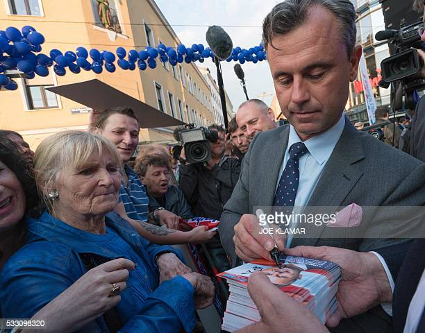 Rightwing Austrian Freedom Party presidential candidate Norbert Hofer meets his supporters during his final election campaign rally at the Viktor...