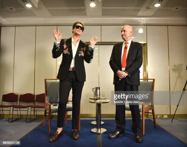Rightwing British provocateur Milo Yiannopoulos answers questions during a speech at Parliament House as Australian senator David Leyonhjelm listens...