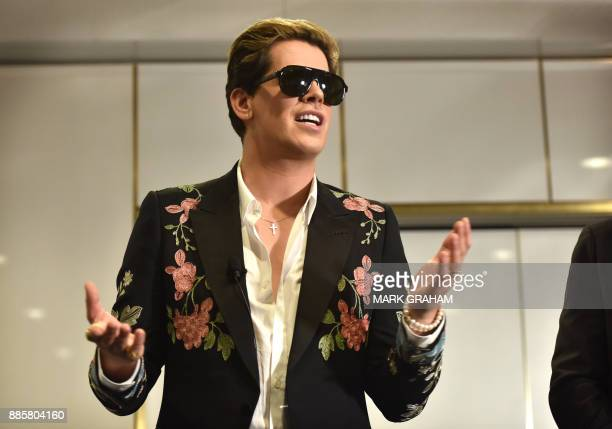 Rightwing British provocateur Milo Yiannopoulos answers questions during a speech at Parliament House in Canberra on December 5 2017 Yiannopoulos...