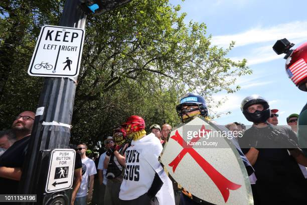 Rightwing demonstrators hold a rally supporting gun rights and free speech on August 4 2018 in Portland Oregon The rally was organized by the group...