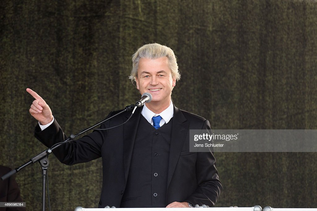 Right-wing Dutch politician Geert Wilders speaks to supporters of the Pegida movement at another of their weekly protests on April 13, 2015 in Dresden, Germany. A large number of supporters and opponents are expected to attend the rally, which will feature Dutch right-wing politician Geert Wilders as a guest speaker. The Pegida movement, which originally emerged as a grass-roots effort with aims to curb immigration, among other issues, splintered into two camps earlier this year and the movement is seeking to regain its earlier momentum.