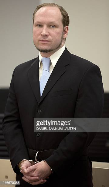 Rightwing extremist Anders Behring Breivik arrives after a break for the last day of his trial in room 250 of Oslo's central court on June 22 2012...