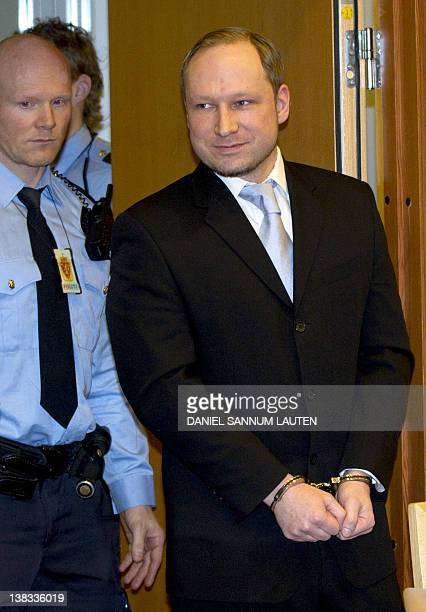 Rightwing extremist Anders Behring Breivik arrives in court in Oslo on February 6 2012 The Norway gunman who killed 77 people in twin attacks in July...
