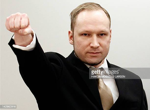 Rightwing extremist Anders Behring Breivik who killed 77 people in twin attacks in Norway last year makes a farright salute as he enters the Oslo...