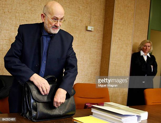 Rightwing extremist Horst Mahler and his lawyer Heidi Pioch attend the trial against Mahler at the country court on January 12 2009 in Munich Germany...