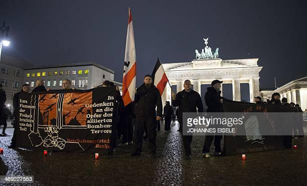 Rightwing extremists hold a rally in front of the Brandenburg Gate in Berlin on February 13 commemorating the 69nd anniversary of the bombing of...