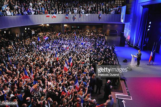Rightwing incumbent candidate Nicolas Sarkozy addresses his supporters after the second round results of the French Presidential elections at Maison...