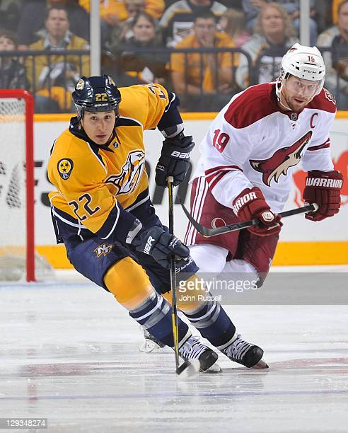 Rightwing Jordin Tootoo of the Nashville Predators skates against rightwing Shane Doan of the Phoenix Coyotes during an NHL game on October 13 2011...
