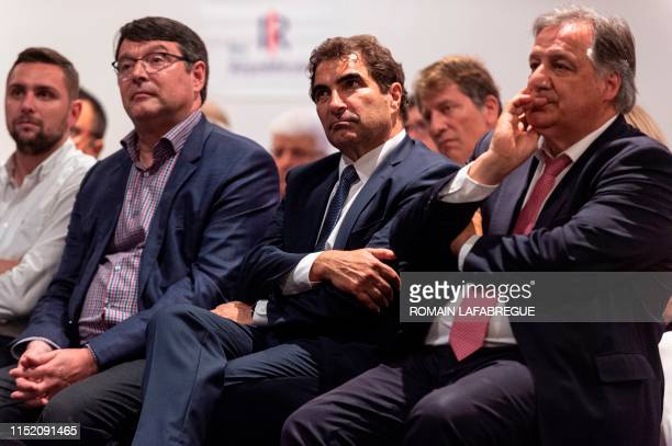 "Right-wing ""Les Republicains"" party's parliamentary group head Christian Jacob attends a public meeting on June 26 in Saint-Etienne, central eastern..."
