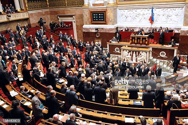 Right-wing MP's leave the national Assembly following a speech by French socialist MP Serge Letchimy on February 7, 2012 at the National Assembly in...