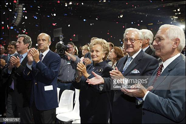 RightWing Parties Rpr And Dl Fuse Into Ump During Meeting In Villepinte On September 21Th 2002 In Villepinte France JeanLouis Debre Alain Juppe...