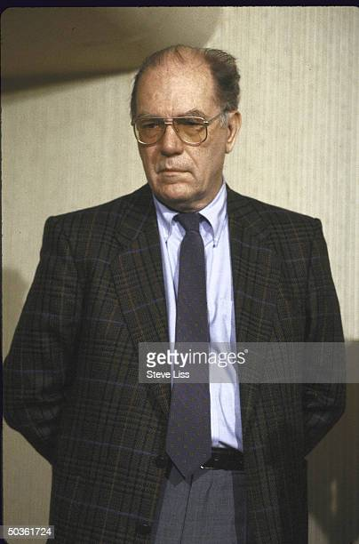 Rightwing politician Lyndon H LaRouche attending a press conference