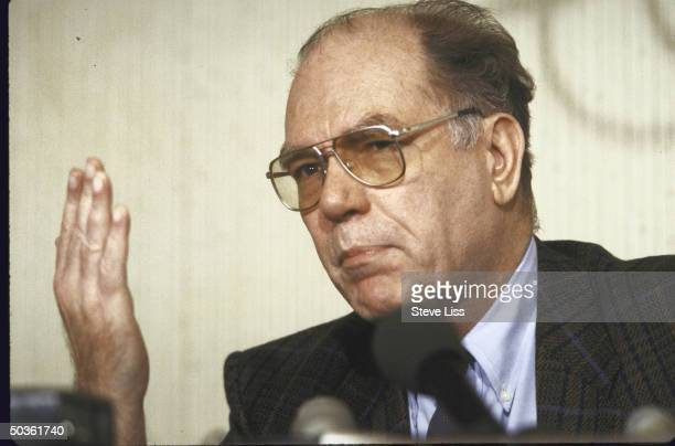 Rightwing politician Lyndon H LaRouche speaking at a press conference